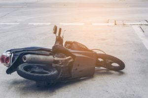 motorcycle on the road after accdident