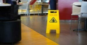 slippery sign on the floor